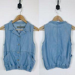 Zara Basic Jeanswear Button Down Cropped Top